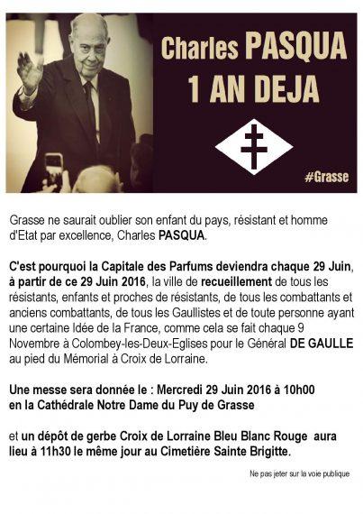 Charles PASQUA : 1 an déjà…