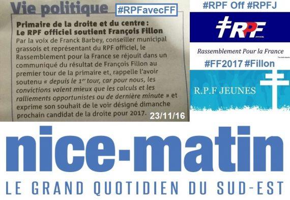 LE RPF OFFICIEL CONTINUE DE SOUTENIR FRANCOIS FILLON, ENSEMBLE VERS 2017